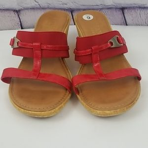 Italian Shoemakers red wedge sandals. Size 9